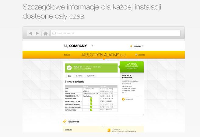 Szczegółowe informacji dla każdej instalacji dostępne są na bieżąco, cały czas.